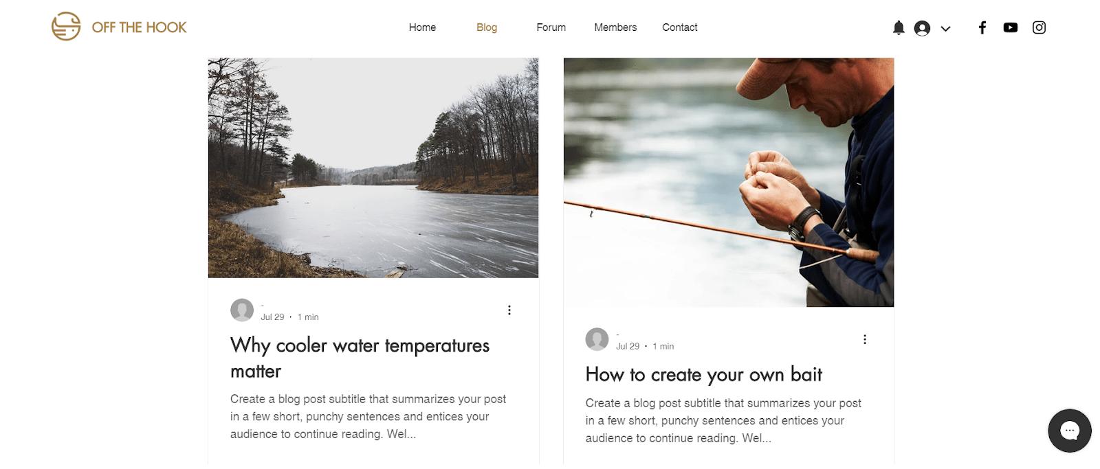 Wix blog layout