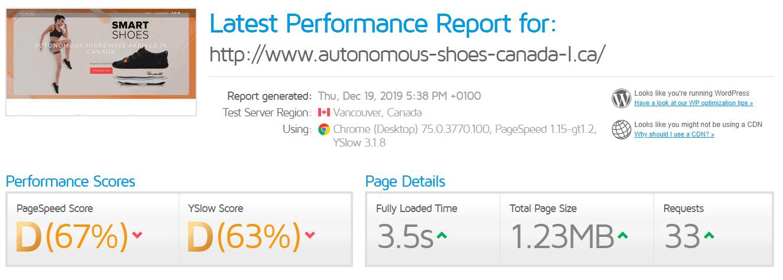 CanSpace GTmetrix results