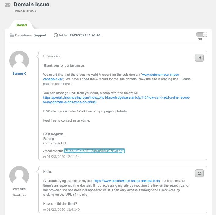 Cirrus Tech domain support