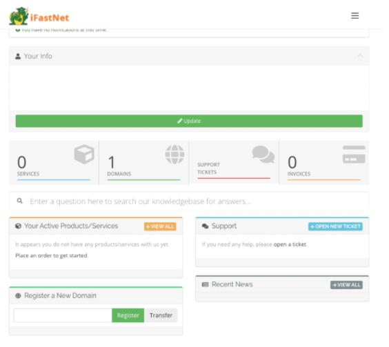 iFastNet account dashboard