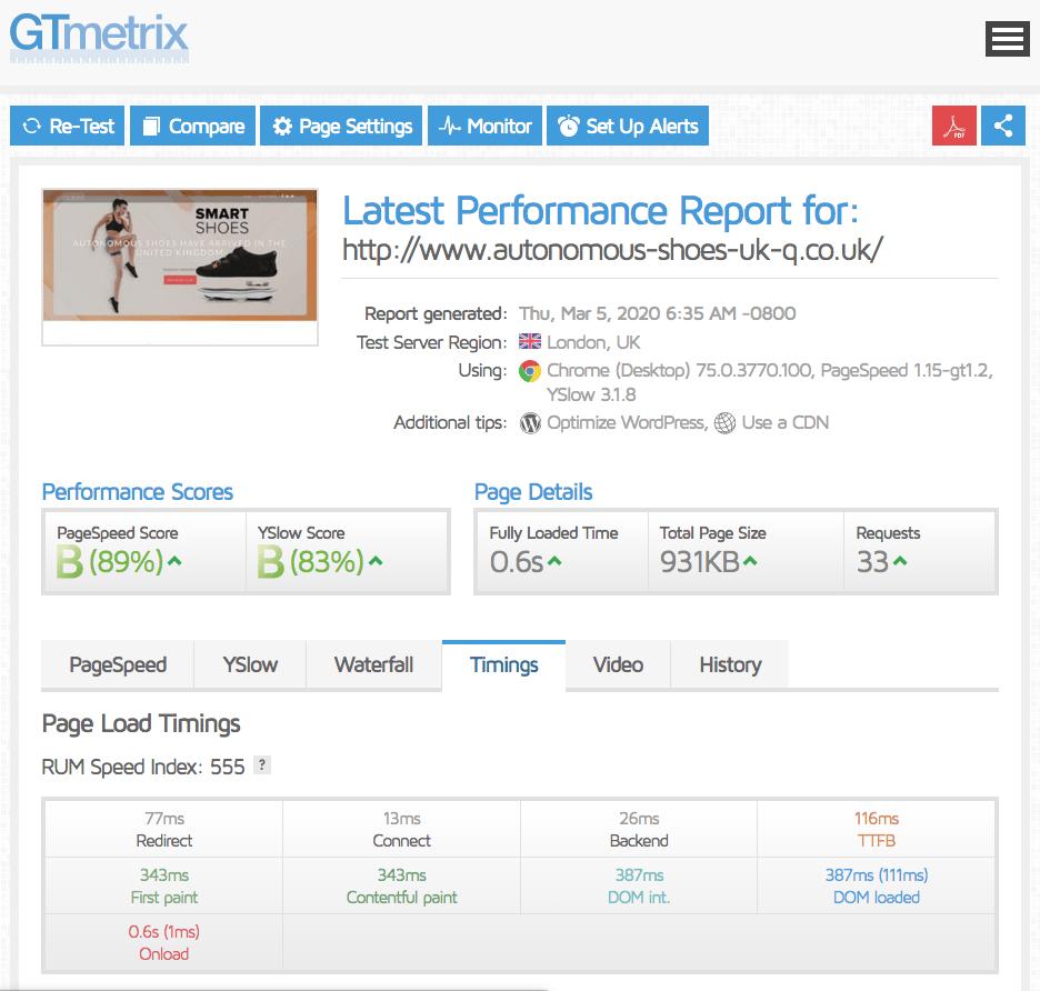 GTmetrix results for iFastNet