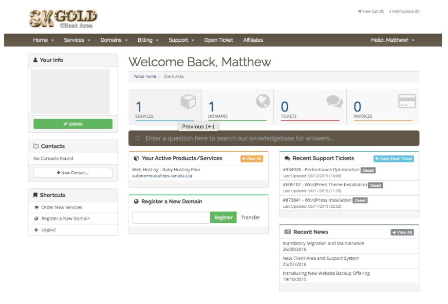SKGOLD account management