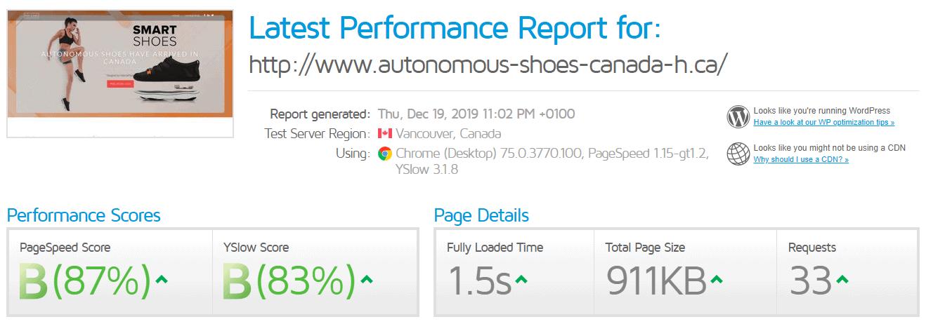Webnames GTmetrix scores