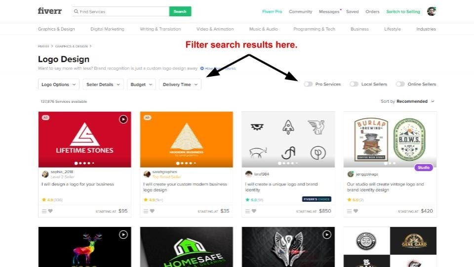 Fiverr search results