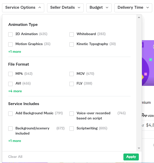 Fiverr filter options for video gigs