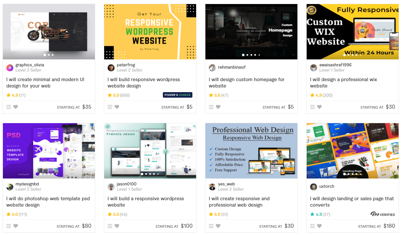 Fiverr web design gig listings