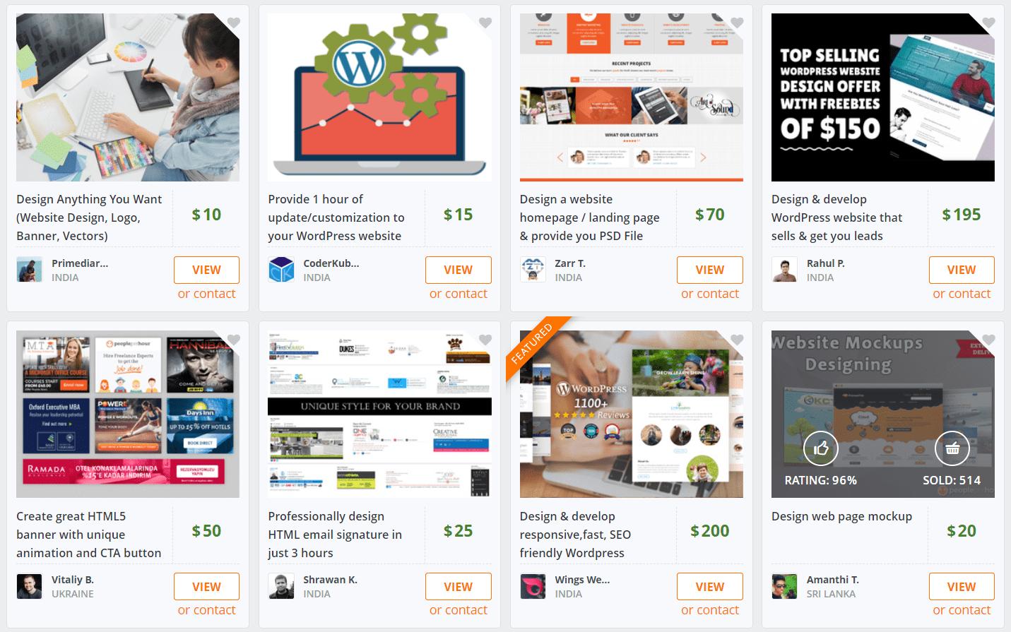 PeoplePerHour's web design offer listings