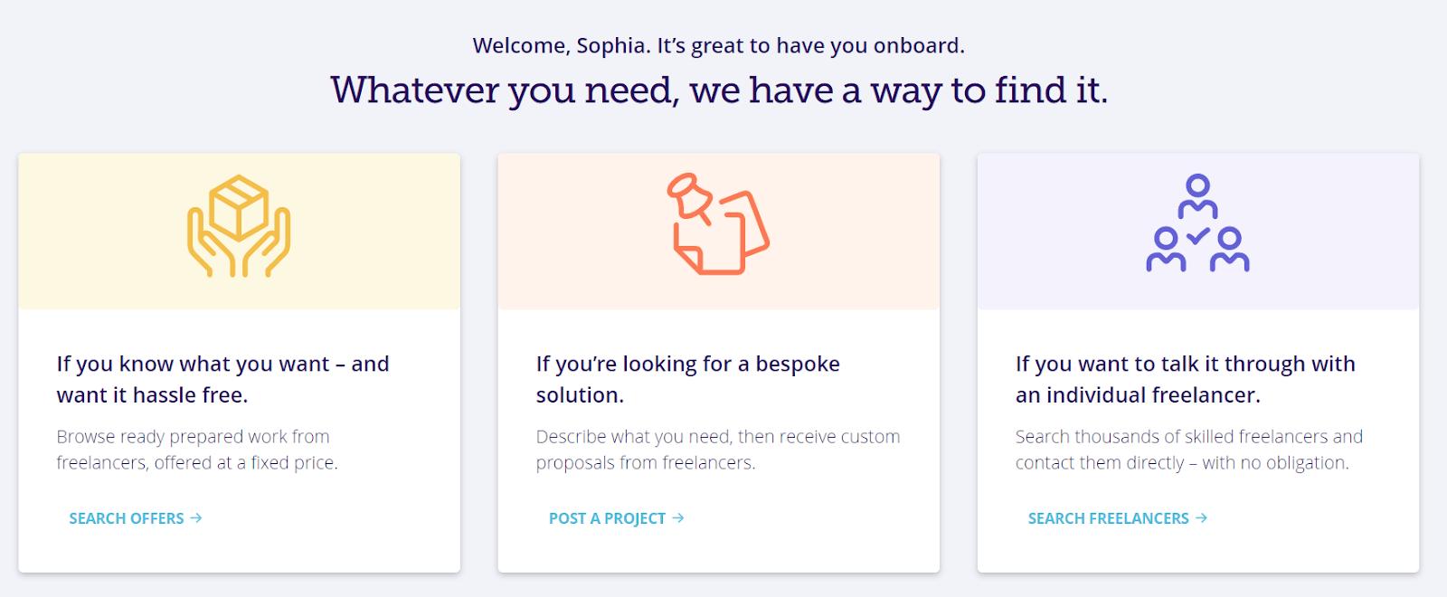 PeoplePerHour's options for browsing freelancers