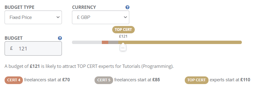 PeoplePerHour's budget recommendation tool