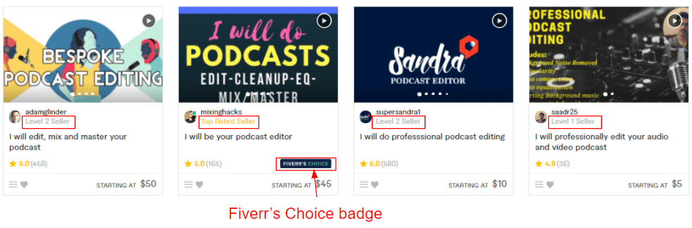 Fiverr gigs with listed seller levels