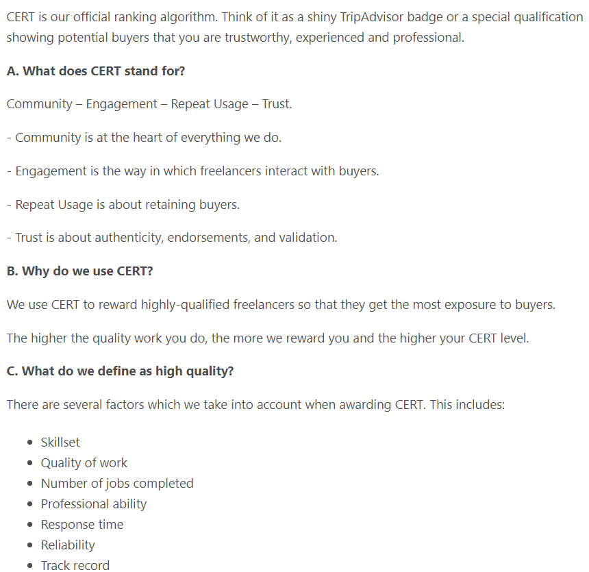 PeoplePerHour's CERT ranking algorithm for freelancers.