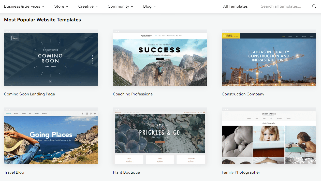 Wix template library