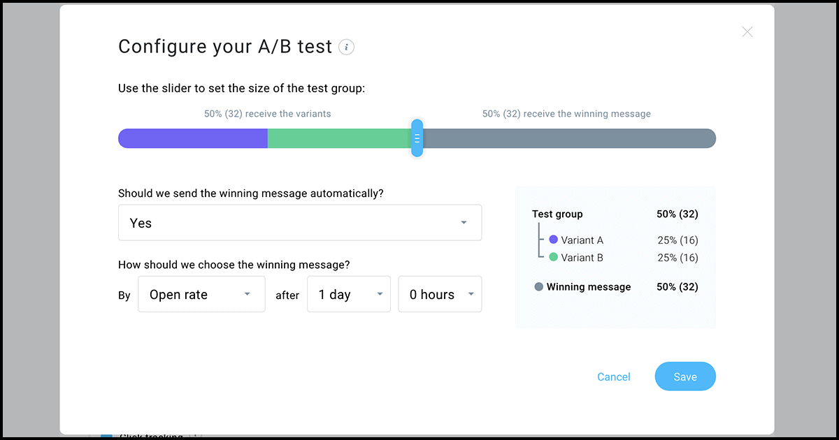 GetResponse A/B test configuration