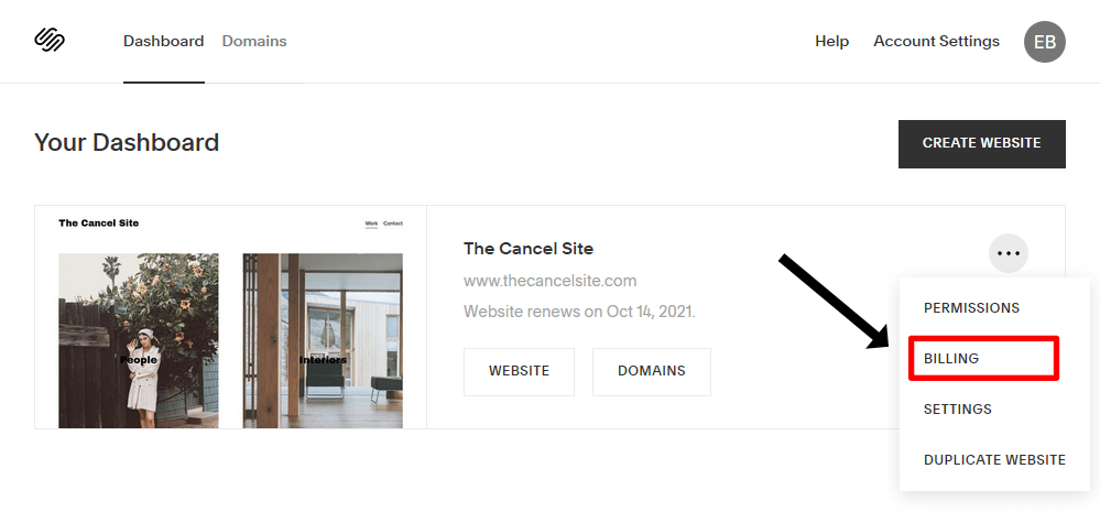 The Squarespace dashboard