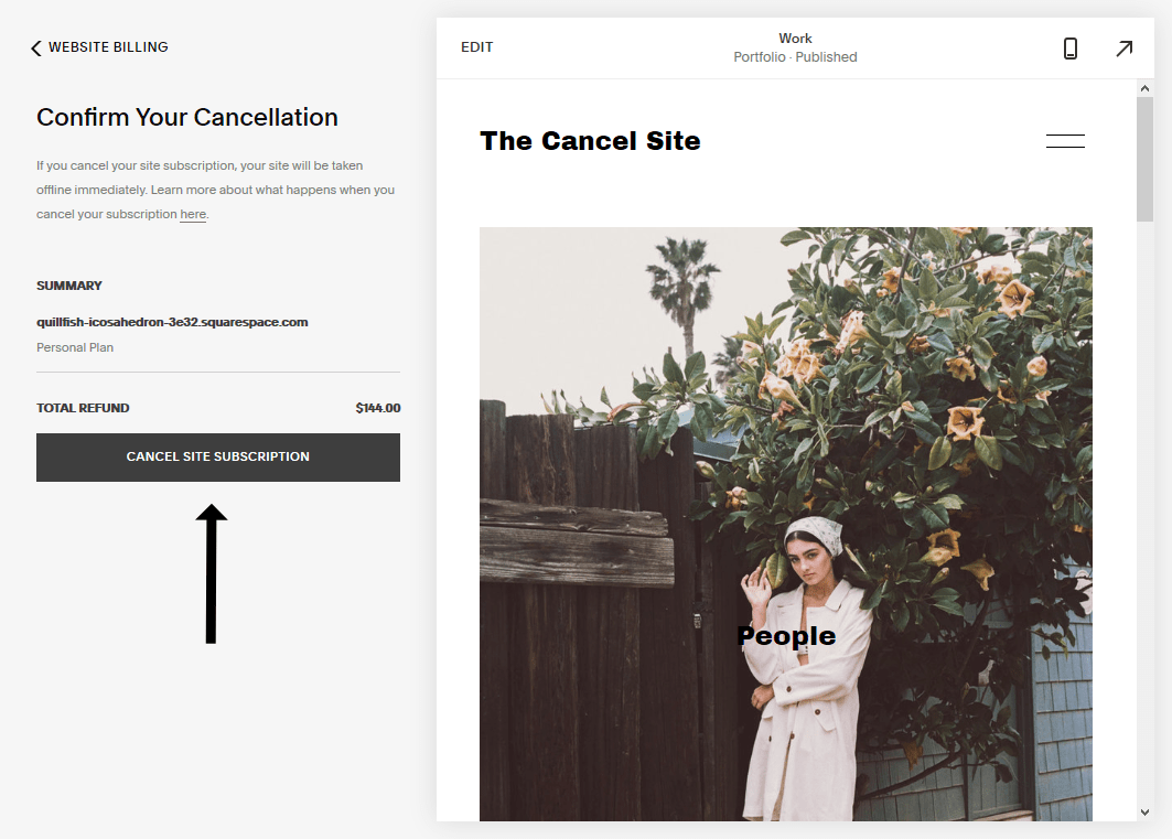 the cancel site subscription button