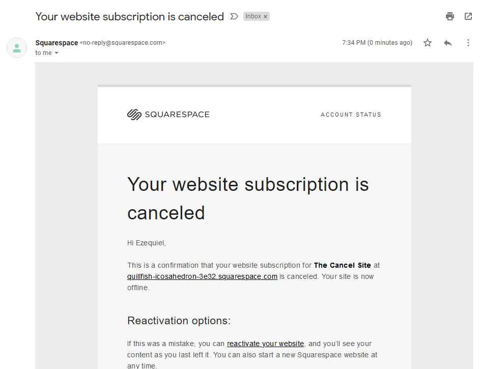 the cancellation confirmation email