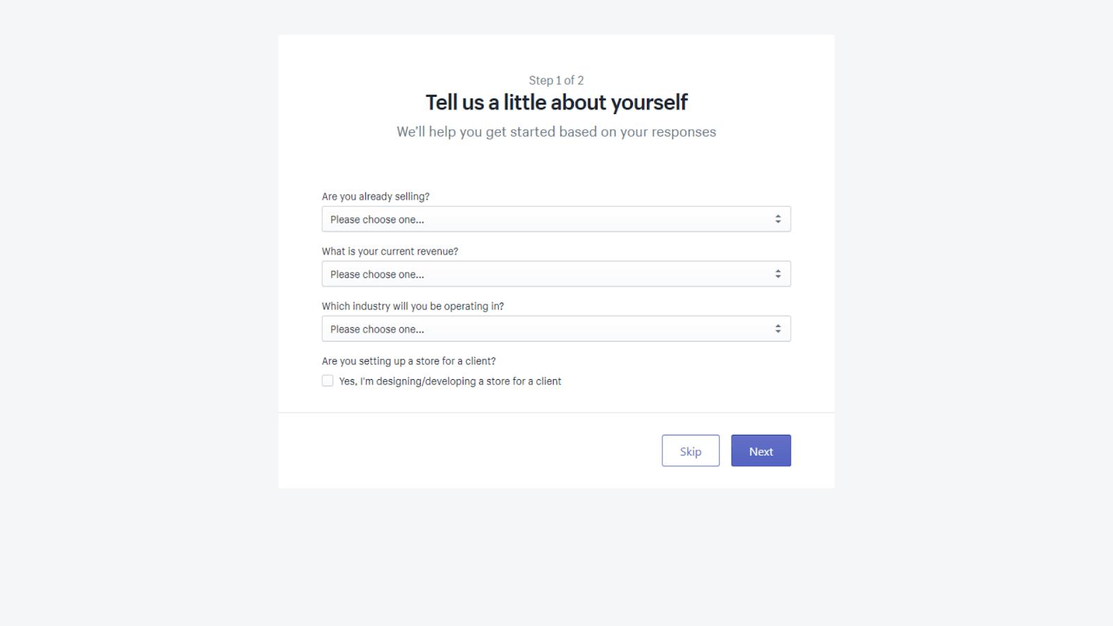 Shopify setup form