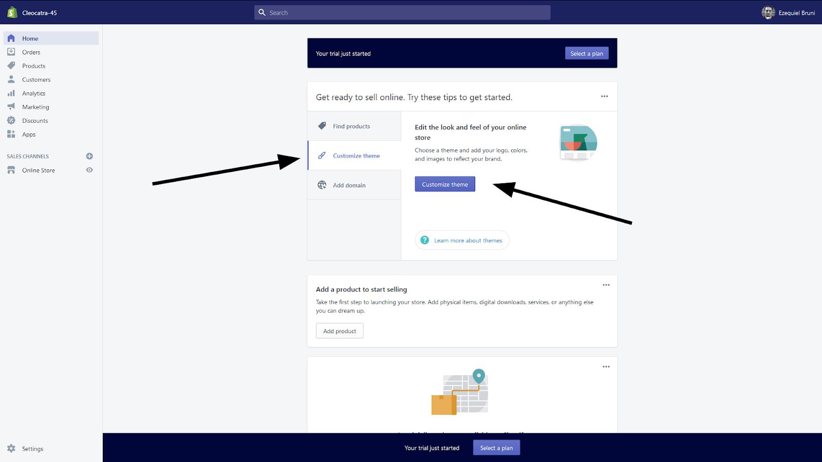 Shopify post-setup screen