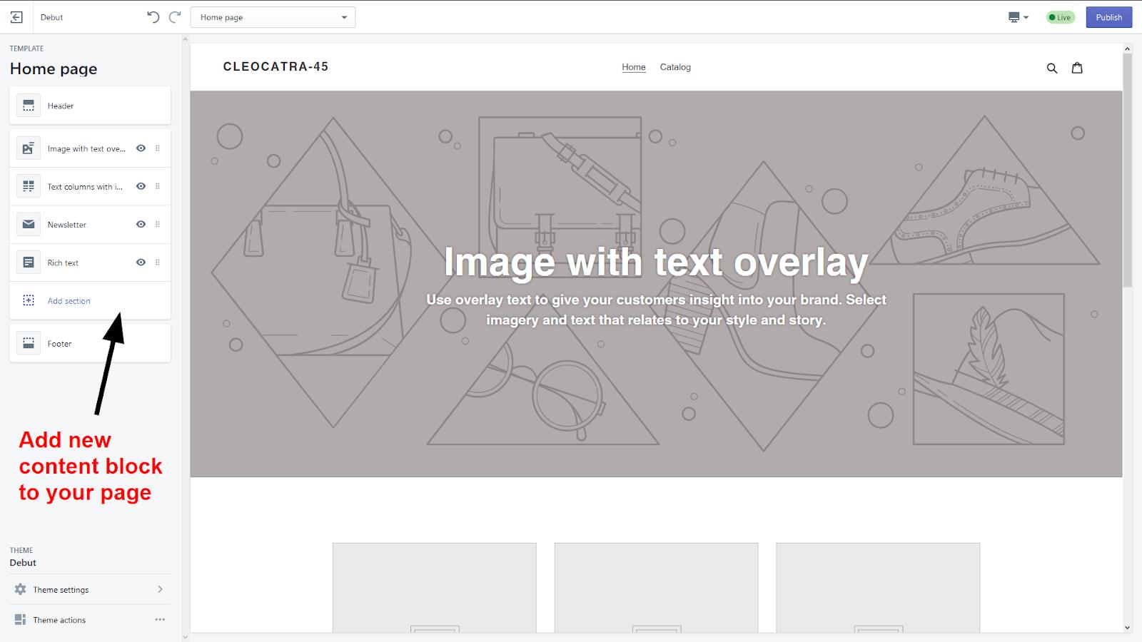 the theme customizing screen
