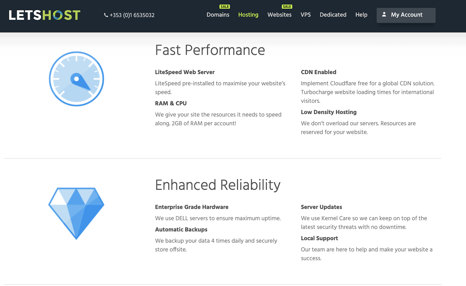 LetsHost performance features