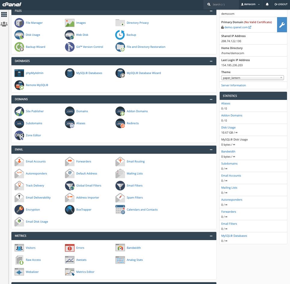LetsHost cPanel dashboard