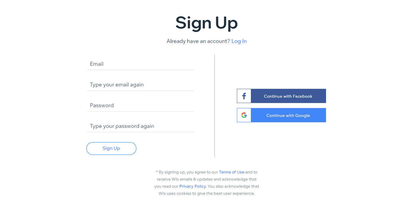 wix sign up page