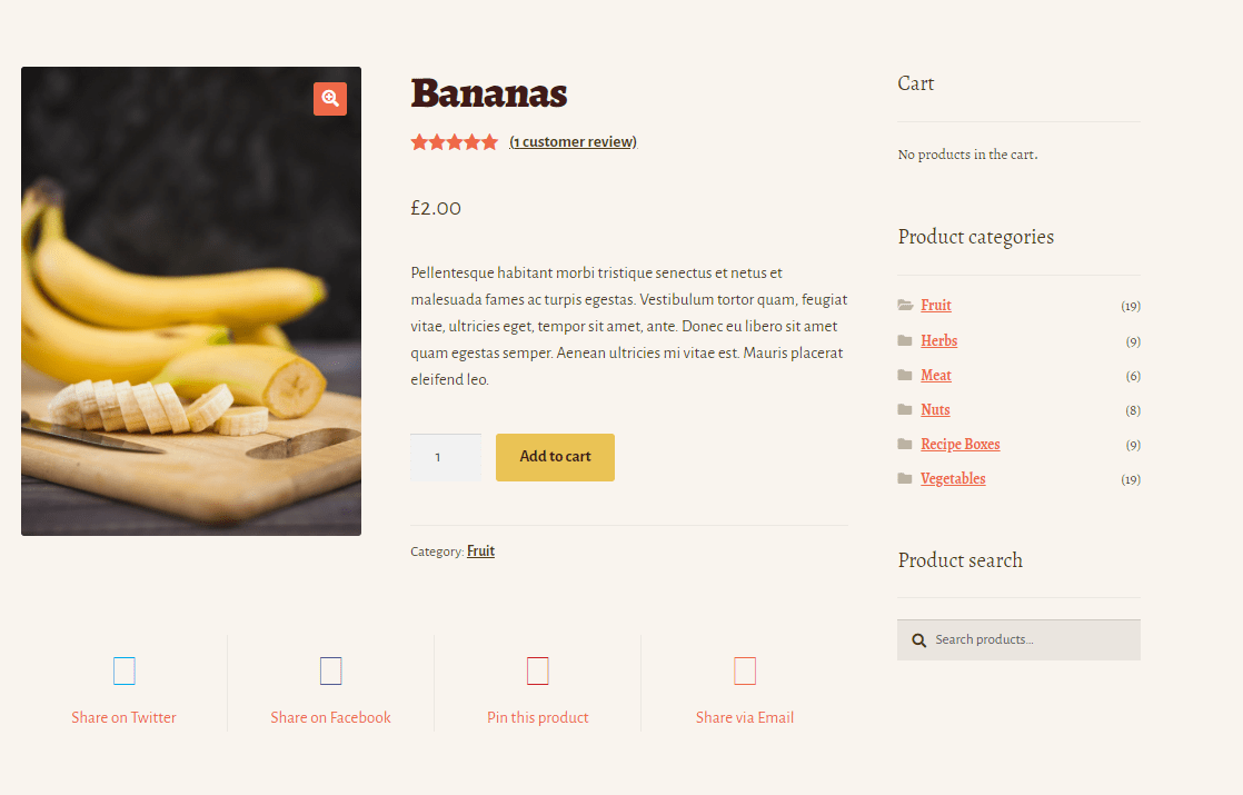 The product page of WooCommerce's Bistro theme