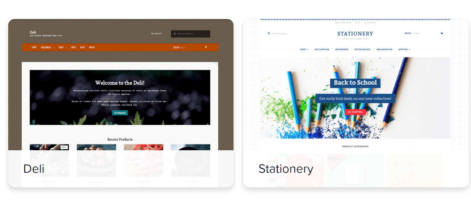 WooCommerce themes Deli and Stationery