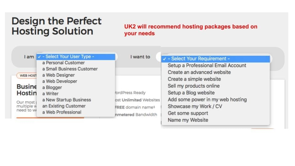 UK2 will help you choose the right package