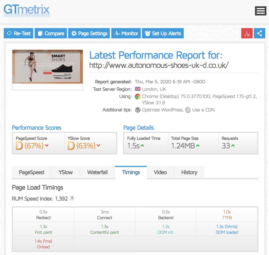 GTmetrix test results for UK2
