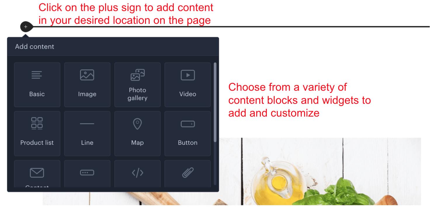 Content block options in Webnode editor