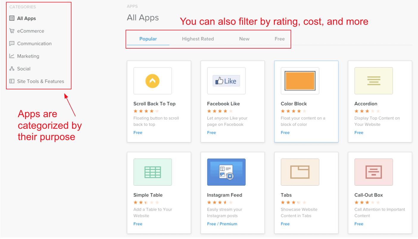 Weebly app market