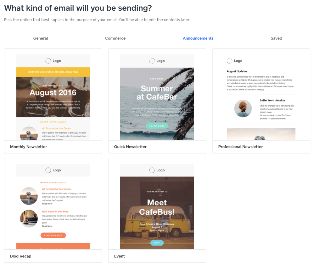Email campaign templates - Weebly Promote