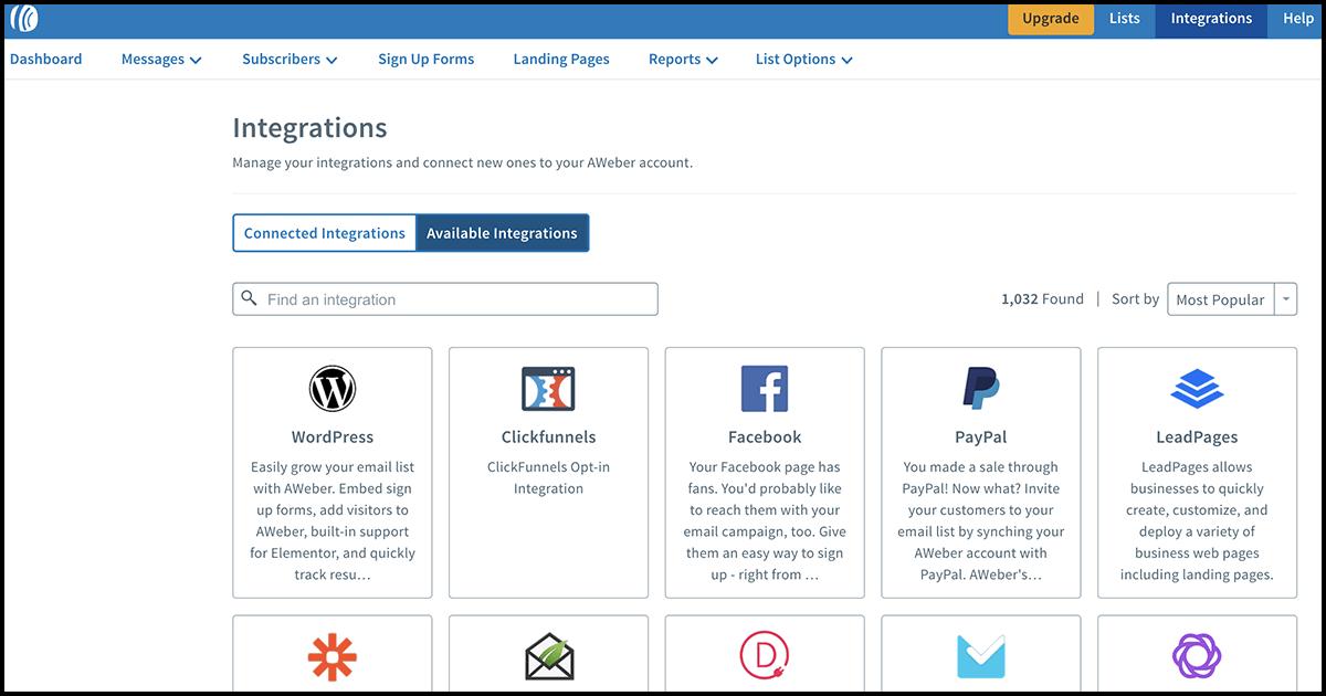 AWeber app integrations