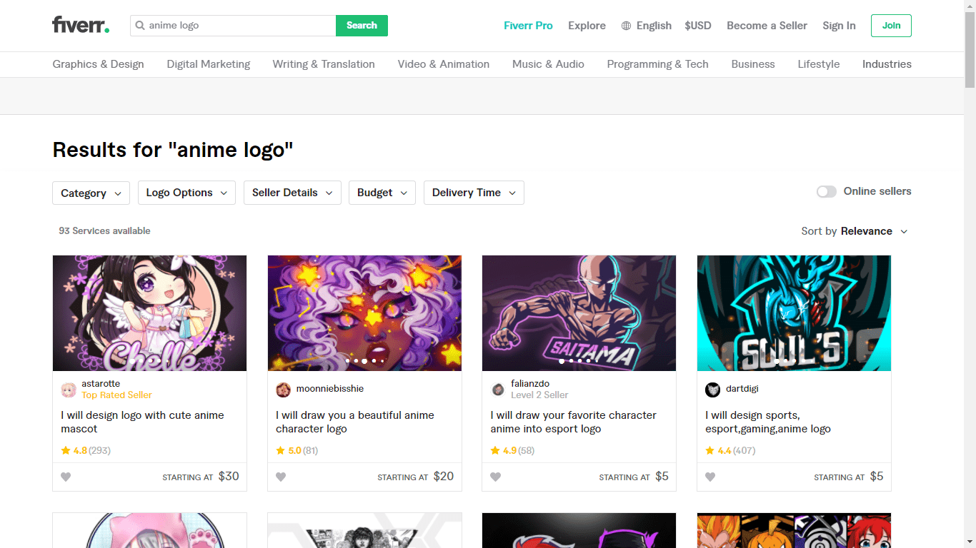 Fiverr screenshot - anime logo designers