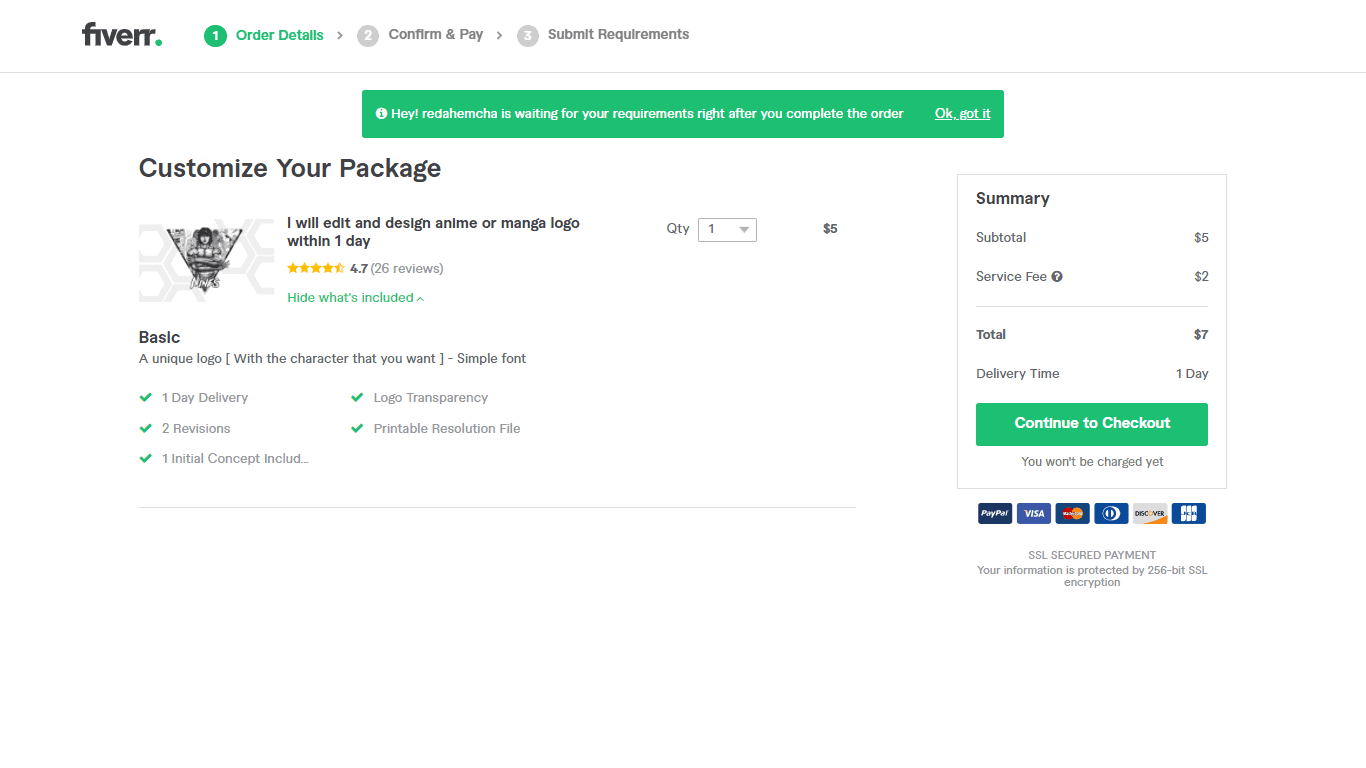 Fiverr screenshot - Continue to Checkout