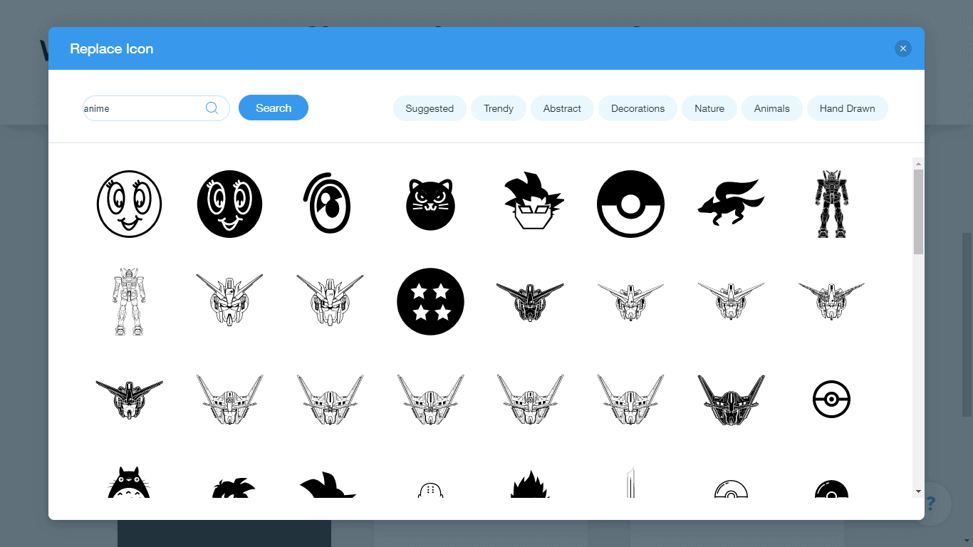 Wix Logo Maker screenshot - anime icons
