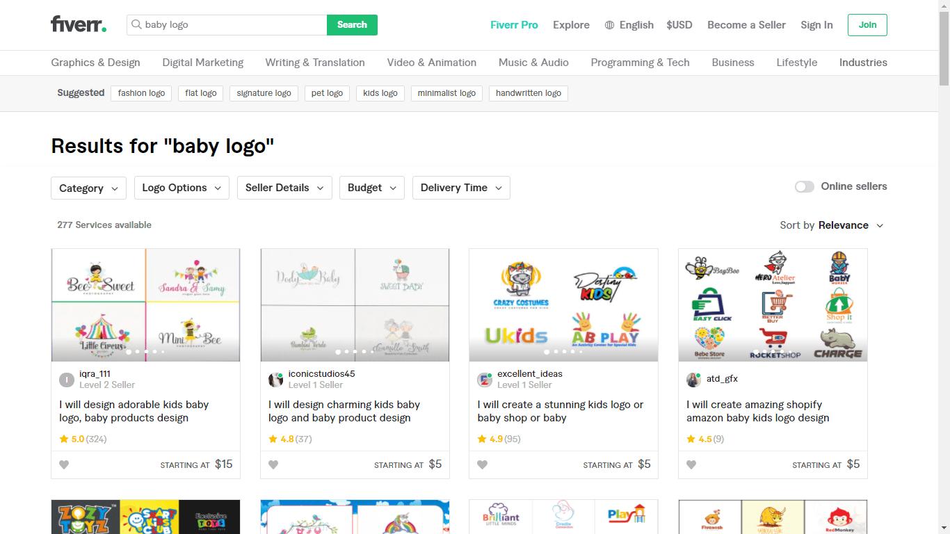 Fiverr screenshot - baby logo designers