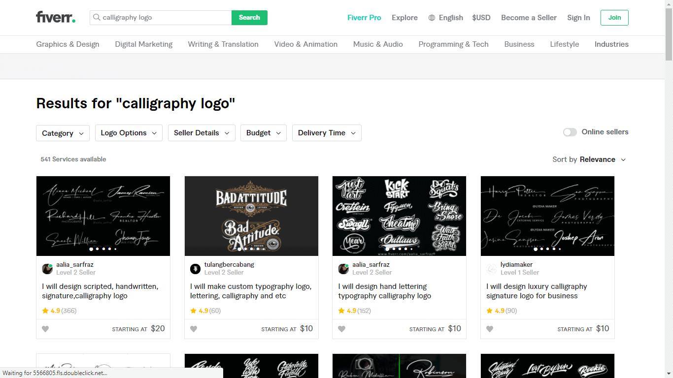 Fiverr screenshot - calligraphy logo designers