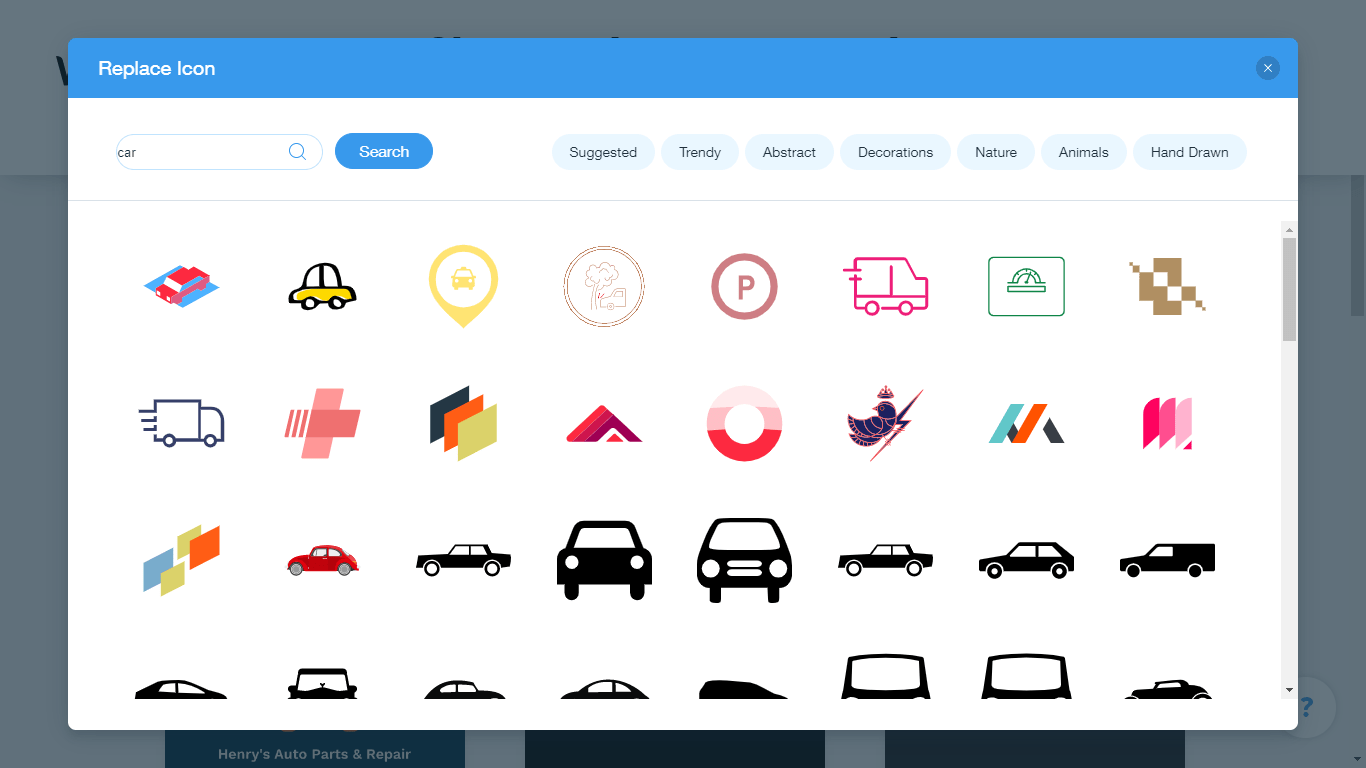 Wix Logo Maker screenshot - car icons