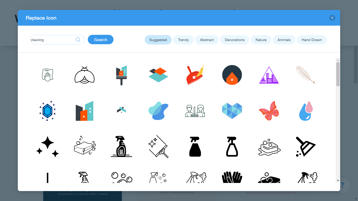 Wix Logo Maker screenshot - cleaning icons