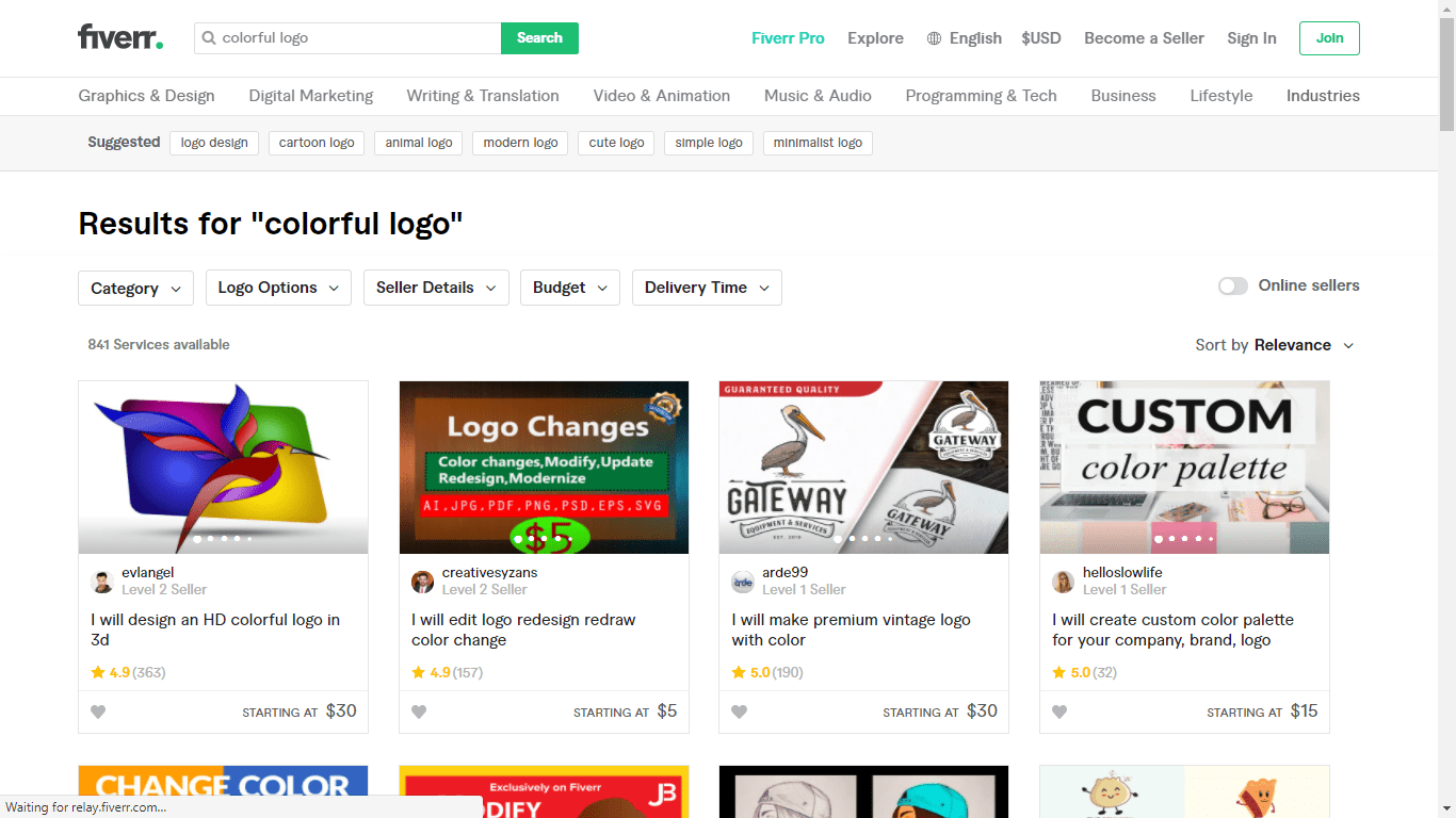 Fiverr screenshot - colorful logo designers