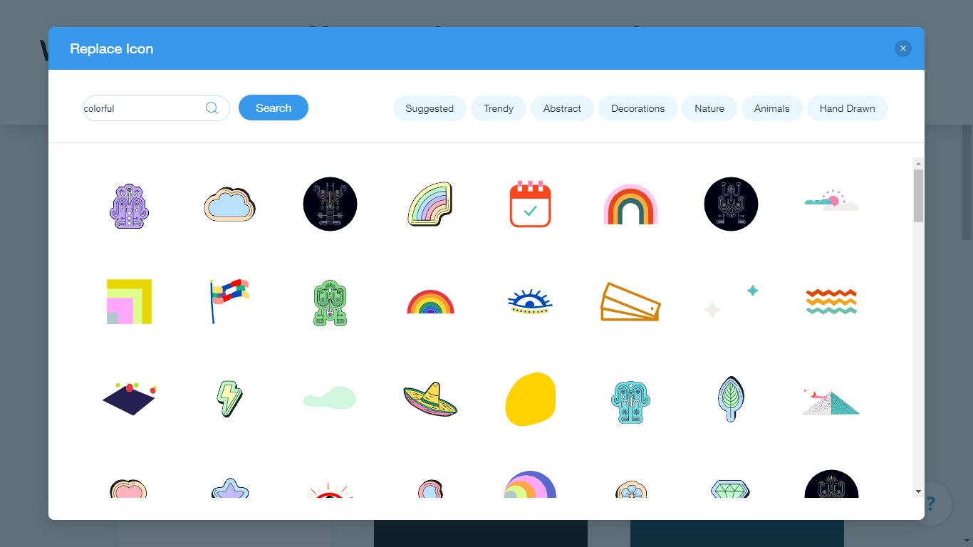 Wix Logo Maker screenshot - colorful icons