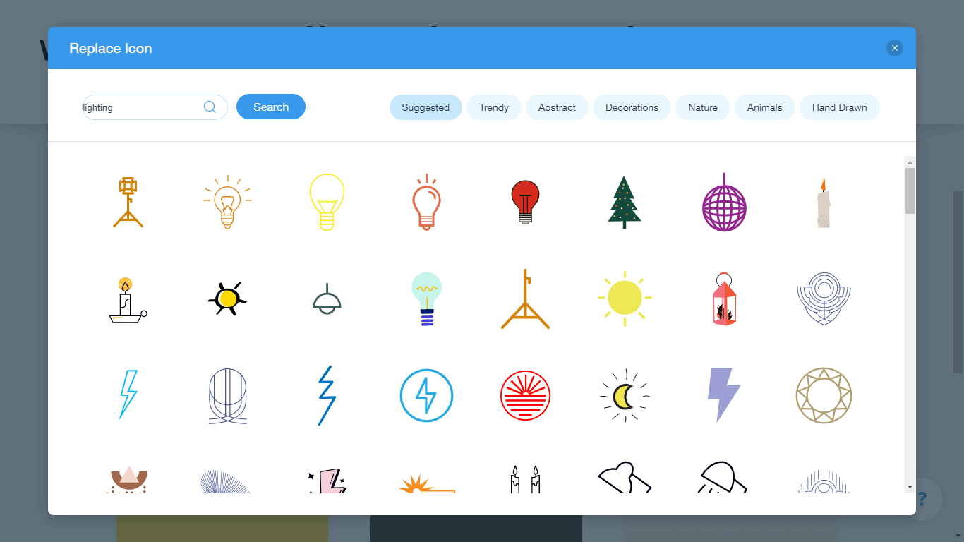 Wix Logo Maker screenshot - lighting icons