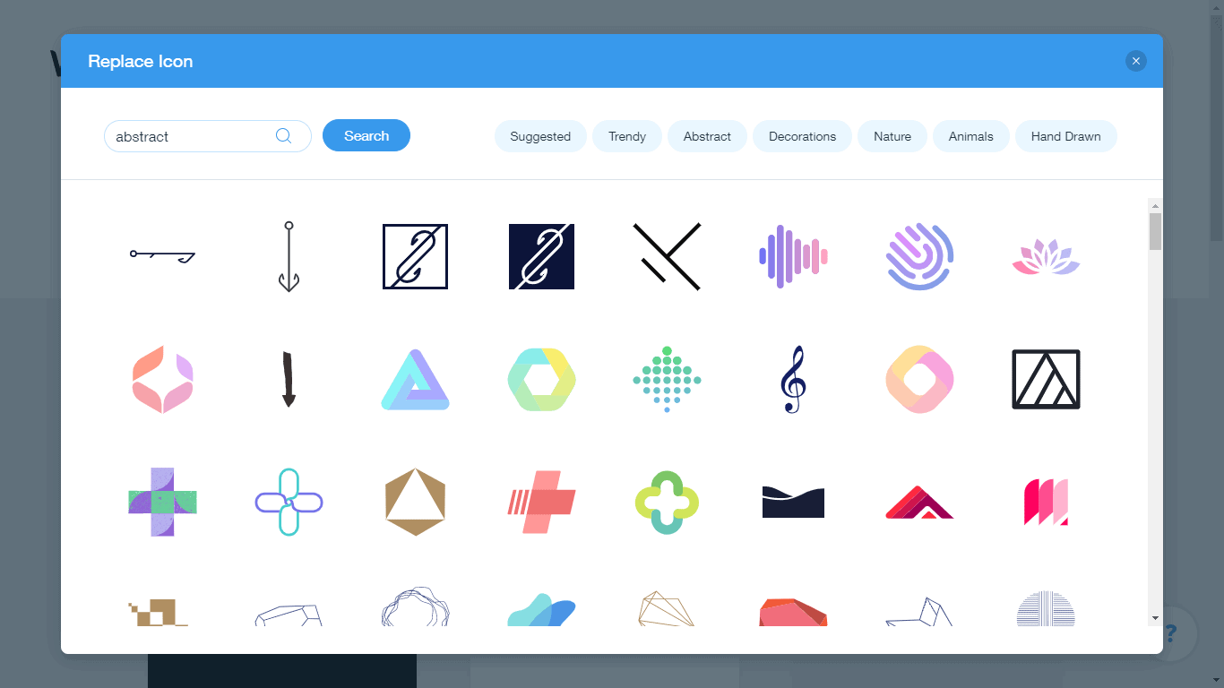 Wix Logo Maker screenshot - abstract icons