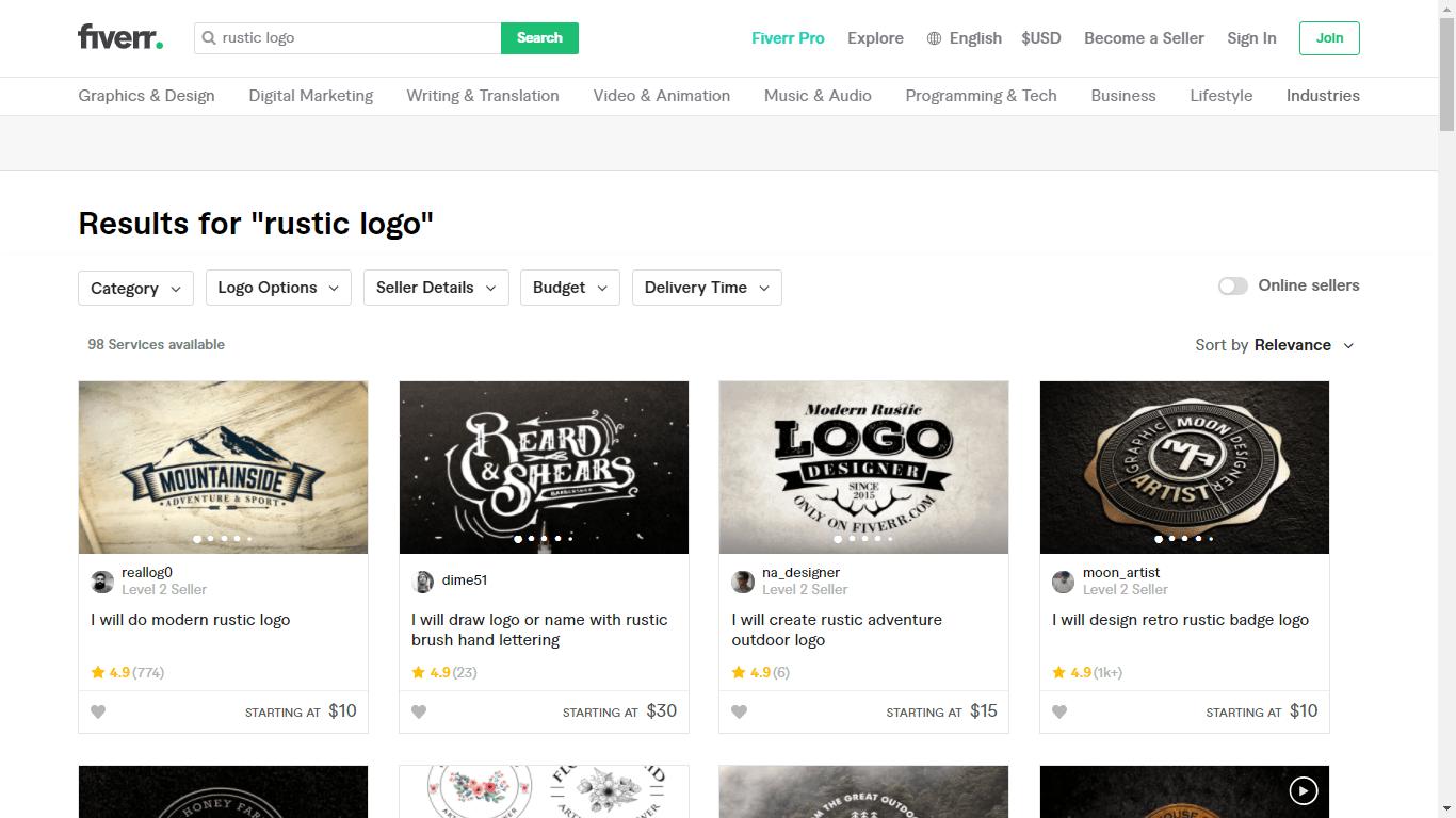 Fiverr screenshot - rustic logo designers