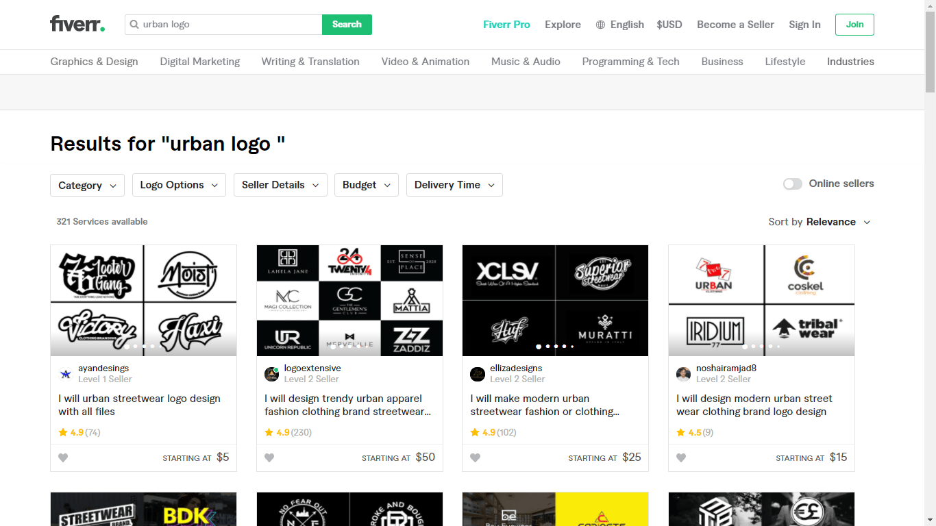 Fiverr screenshot - urban logo designers