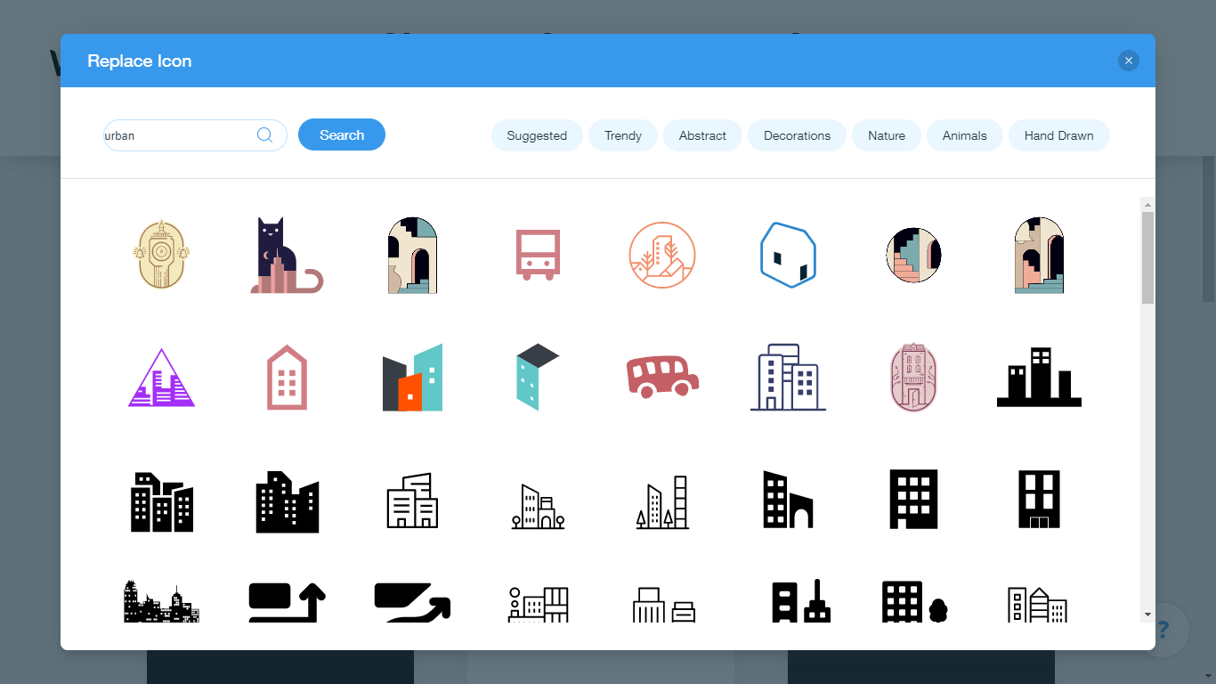 Wix Logo Maker screenshot - urban icons