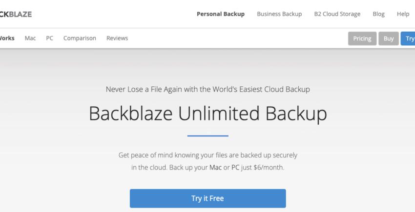 Backblaze cloud backups