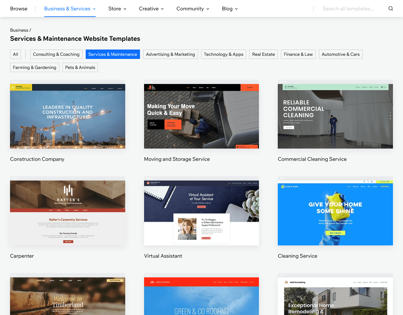 examples of Wix templates
